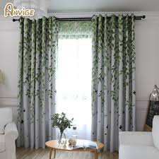 Living Room Curtain Design Awesome ANVIGE Pastoral Leaf Printed Blackout Curtains Window Treatment