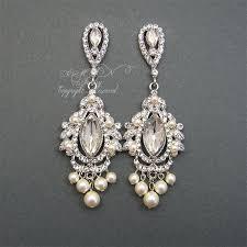 bridal long earrings chandelier bridal earrings rhinestone pearl wedding by xinxinemin