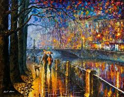 oil paintings painting alley by the river palette knife modern landscape oil painting on