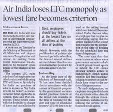 Air India Loses Ltc Monopoly As Lowest Fare Becomes