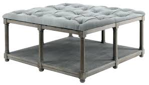 leather tufted square ottoman cocktail table oversized heather round cof