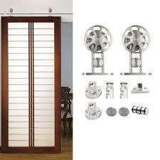 winsoon 5 8ft modern sliding single barn wood door hardware stainless track kit barn door