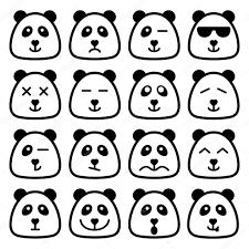 Panda emotional emoji square flat faces icon — Stock Vector ...