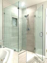 Walk in shower with half wall Bathroom Remodel Showers Half Wall Shower Glass Pony Corner Enclosure Over Knee Installed With Clips Building Block Pony Wall Height Shower Best Half Oscarmusiatecom Incredible Shower Doors Half Wall Custom Euro Glass Company Gallery