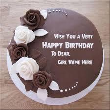 Customize Chocolate Rose Birthday Cake With Girl Nameprint Name On