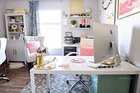 pink home office. Decorating A Shared Office, With Colorful Industrial Style. Her Side Is Pink And Gold Home Office
