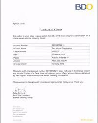 Example Bank Certificate Bdo Cepoko Com