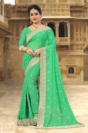 Pearl Designer Blouses Online Stylish Green Designer Saree With Pearls