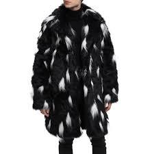 men faux fur coat turndown collar two tone fluffy coat long sleeve overcoat black xl