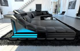 Details About Sectional Corner Sofa New York Cl Shape With Led Lights Leather Luxury Design