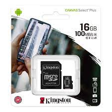 Kingston Canvas Select 16GB Micro SD Hafıza Kartı Class10 U1 100MB/s SDCS2