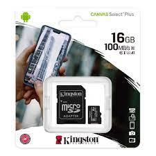 Kingston Canvas Select 16GB Micro SD Hafıza Kartı Class10 U1 100MB/s SDCS2