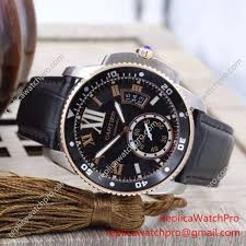replica cartier calibre de cartier diver watch ss case gold fluted bezel leather band 1