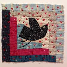 Bird and stars. Textile / fibre / fiber wall art collage. Original ... & Embroidered bird onto antique quilt piece by Naomi Hutchinson - The  underground stitcher Adamdwight.com