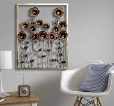 brown metal daisy decorative wall frame