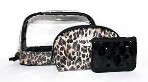 victoria s secret makeup bag cosmetic bag trio set leopard print