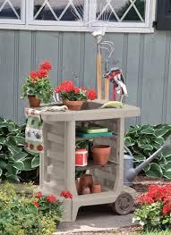 garden cart wheels lawn suncast tool storage outdoor utility bin potting center
