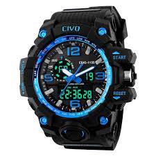 men s watches amazon co uk civo men s boy s analogue digital 50m waterproof military sport watch mens big face dual dial business casual