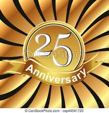 Anniversary Ribbon 25th Anniversary Ribbon Logo With Golden Rays Of Light Birthday