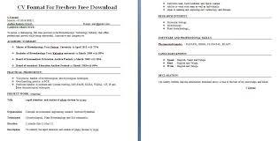 Cv Resume Format Download Cv Format For Freshers Free Download