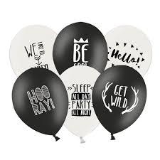 Luftballon Party Sprüche Schwarz Weiß 6 Stück Geschenkideen