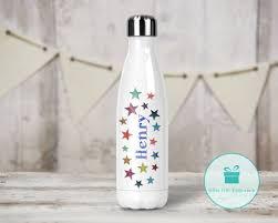 Bottle Design Images Personalised Star Design Bowling Drinks Bottle Blue Font