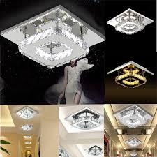 image is loading modern square 20cm 12w led crystal ceiling lights