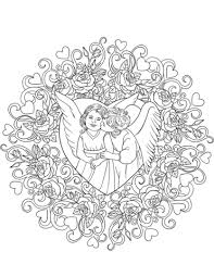 Valentine Angels Coloring Pages With St Valentine Mandala With Two