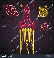 Planet Neon Light Rocket Galaxy Planets Neon Light Glowing Stock Vector