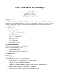 Resume Summary Examples Entry Level Job Buiness Managment Career