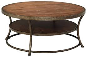 round coffee table with shelf rustic metal frame round cocktail table with distressed pine top shelf