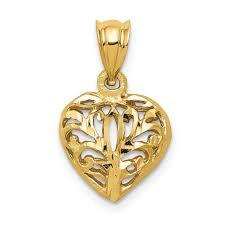 heart pendant 14k yellow gold love charm 3d large