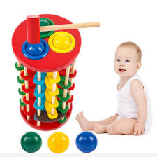 top diy wooden pound and roll wooden tower with hammer knock the ball off ladder montessori educational toys child kids gift novelty market novelty design
