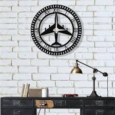 metal wall clock fighter jet metal