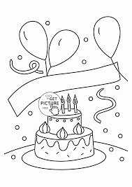 Small Picture Birthday Cake and Balloons coloring page for kids holiday