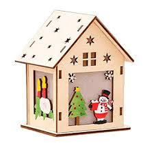 Cloudsemi Weihnachten Holzhäuser Diy Holzhaus Led Weihnachtshäuser Dekoration Haus Rgb Leuchtung Anhänger Häuschen Weihnachtsdeko Fensterdeko Licht