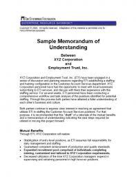 Memorandum Sample Sample Memorandum Of Understanding Between Xyz Corporation And