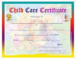 Child Care Certificate Template Kindergarten Diploma Certificate