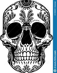 иллюстрация черепа черно белой татуировки вектора мексиканская