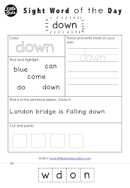 Free Dolch sight words worksheet for pre-k or pre-primer level. By ...