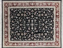 hand tufted area rugs 8x10 black herati design fl wool silk tabriz hand knotted
