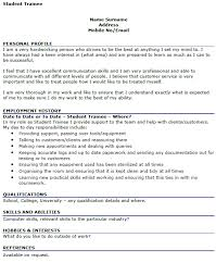 Student Cv Examples Student Trainee Cv Example Icover Org Uk Cv Fitzjohnson Us