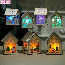 <b>QIFU</b> Christmas <b>Wooden</b> House With Led Light Merry Christmas ...