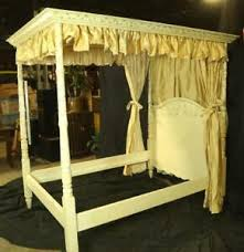 Details about FOUR POSTER CANOPY BED WITH WITH DRAPES AND DUST RUFFLE