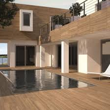 view in gallery wood effect porcelain tile by the pool