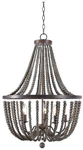 wood bead light 5 candle style chandelier flush mount semi chande