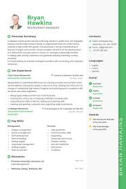 Resume Template For Restaurant Manager Bryan Hawkins Restaurant Manager Resume Template