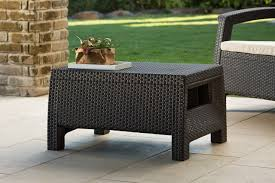 keter corfu coffee table modern all weather outdoor patio garden backyard furniture brown harvest brown