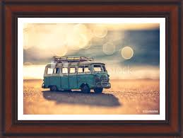 photo art print vintage miniature van in vintage color tone travel concept europosters