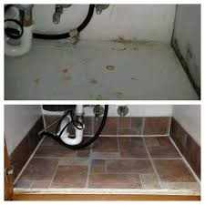Tile Under Kitchen Cabinets Before And After Under Kitchen Sink Cabinet Done With Less Than